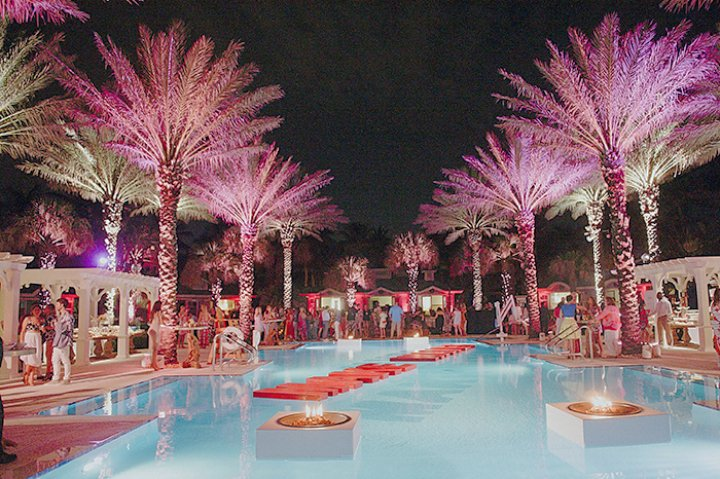pink theme pool deck