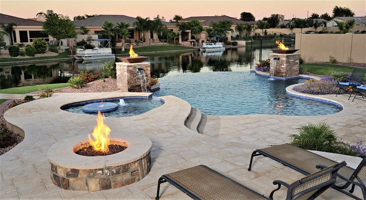 cozy looking pool deck refnished